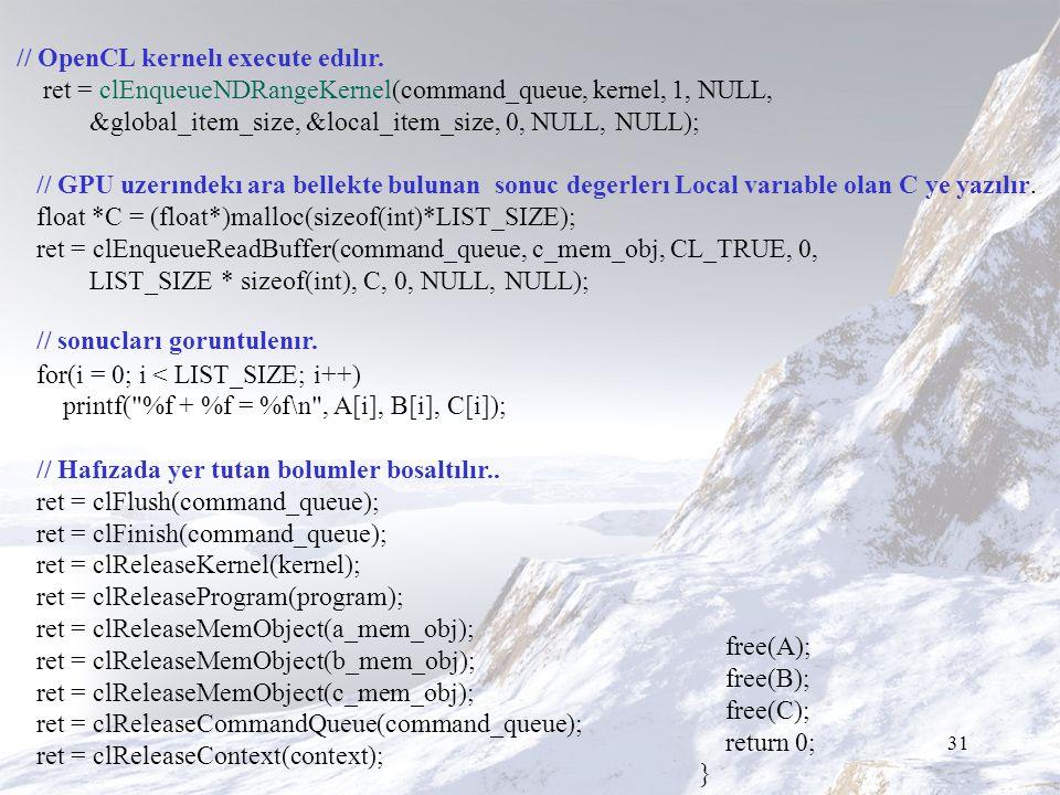 31 // OpenCL kernelı execute edılır.