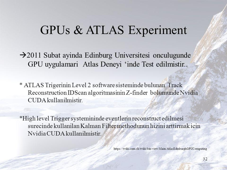 GPUs & ATLAS Experiment  2011 Subat ayinda Edinburg Universitesi onculugunde GPU uygulamari Atlas Deneyi 'inde Test edilmistir..