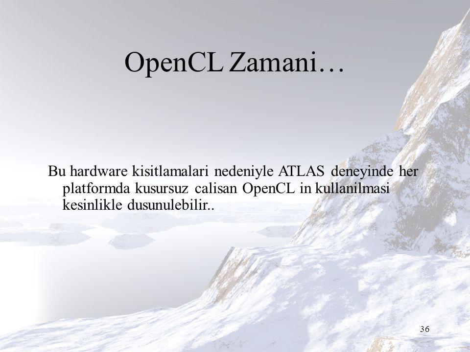 OpenCL Zamani… Bu hardware kisitlamalari nedeniyle ATLAS deneyinde her platformda kusursuz calisan OpenCL in kullanilmasi kesinlikle dusunulebilir..