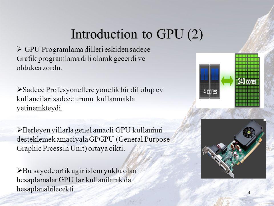 Introduction to GPU (2)  GPU Programlama dilleri eskiden sadece Grafik programlama dili olarak gecerdi ve oldukca zordu.
