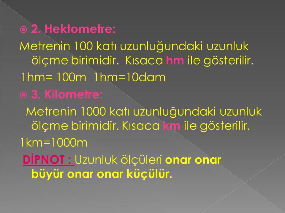  METRENİN KATLARI:  dekametre  hektometre  kilometredir.  1. Dekametre: Metrenin  10 katı uzunluğundaki uzunluk ölçüsü birimidir. Kısaca dam ola