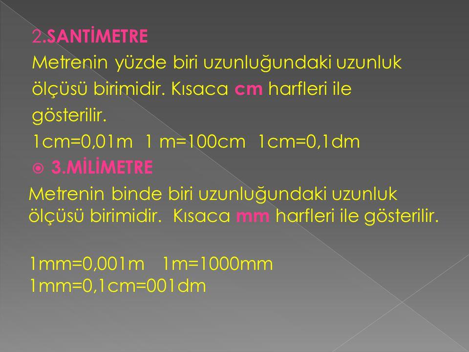  Metrenin askatları :  Santimetre  Milimetre  Desimetre  1. DESİMETRE Metrenin onda biri uzunluğundaki ölçme birimidir. Kısaca dm harfleri ile gö