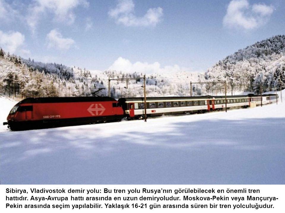 Sibirya, Vladivostok demir yolu: Bu tren yolu Rusya'nın görülebilecek en önemli tren hattıdır. Asya-Avrupa hattı arasında en uzun demiryoludur. Moskov