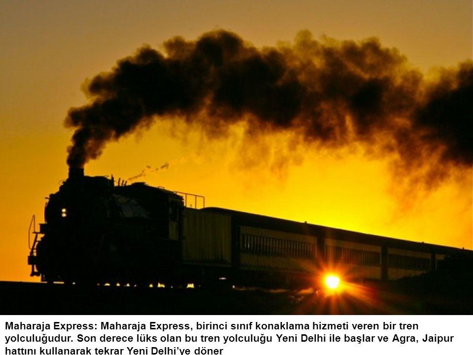 Maharaja Express: Maharaja Express, birinci sınıf konaklama hizmeti veren bir tren yolculuğudur. Son derece lüks olan bu tren yolculuğu Yeni Delhi ile
