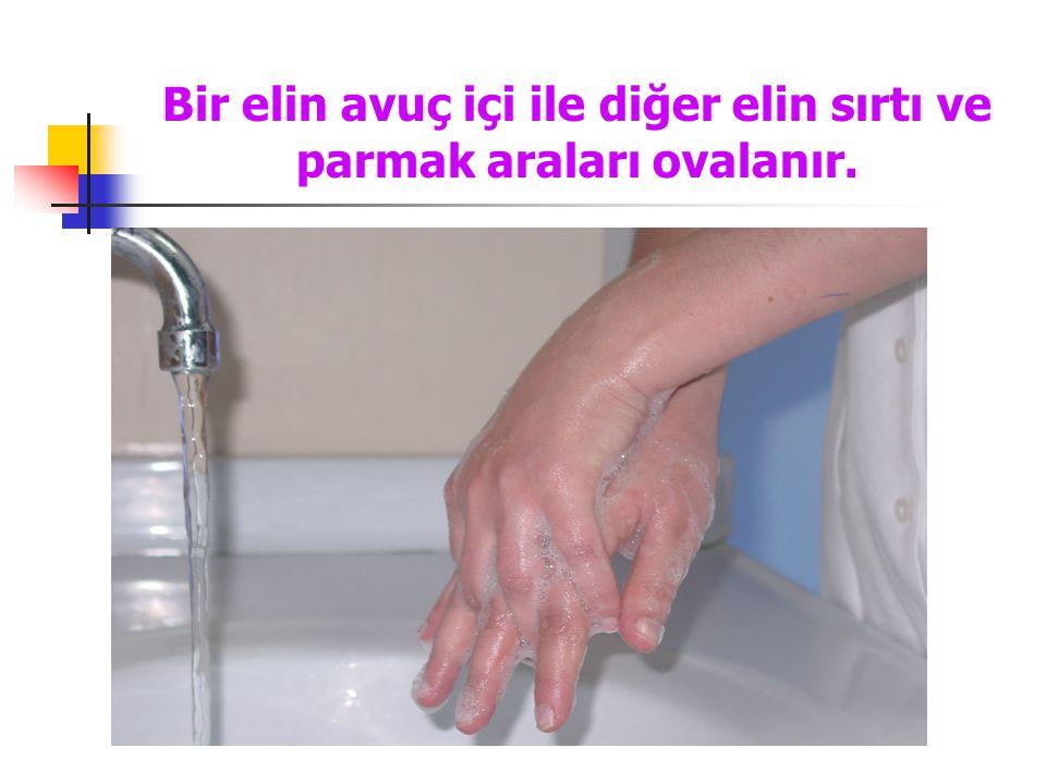 Bir elin avuç içi ile diğer elin sırtı ve parmak araları ovalanır.