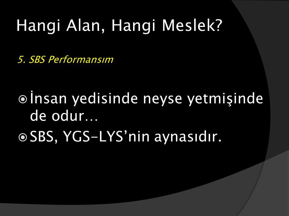 Hangi Alan, Hangi Meslek? 5. SBS Performansım  İnsan yedisinde neyse yetmişinde de odur…  SBS, YGS-LYS'nin aynasıdır.