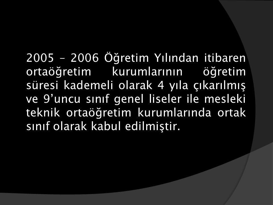 2005 – 2006 Öğretim Yılından itibaren ortaöğretim kurumlarının öğretim süresi kademeli olarak 4 yıla çıkarılmış ve 9'uncu sınıf genel liseler ile mesl