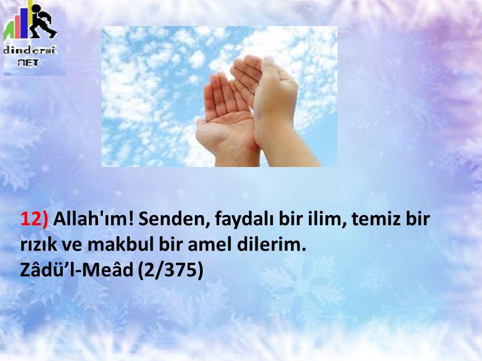 12) Allah'ım! Senden, faydalı bir ilim, temiz bir rızık ve makbul bir amel dilerim. Zâdü'l-Meâd (2/375)