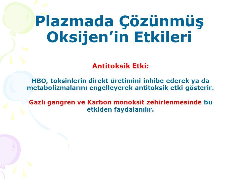 Plazmada Çözünmüş Oksijen'in Etkileri Antitoksik Etki: HBO, toksinlerin direkt üretimini inhibe ederek ya da metabolizmalarını engelleyerek antitoksik