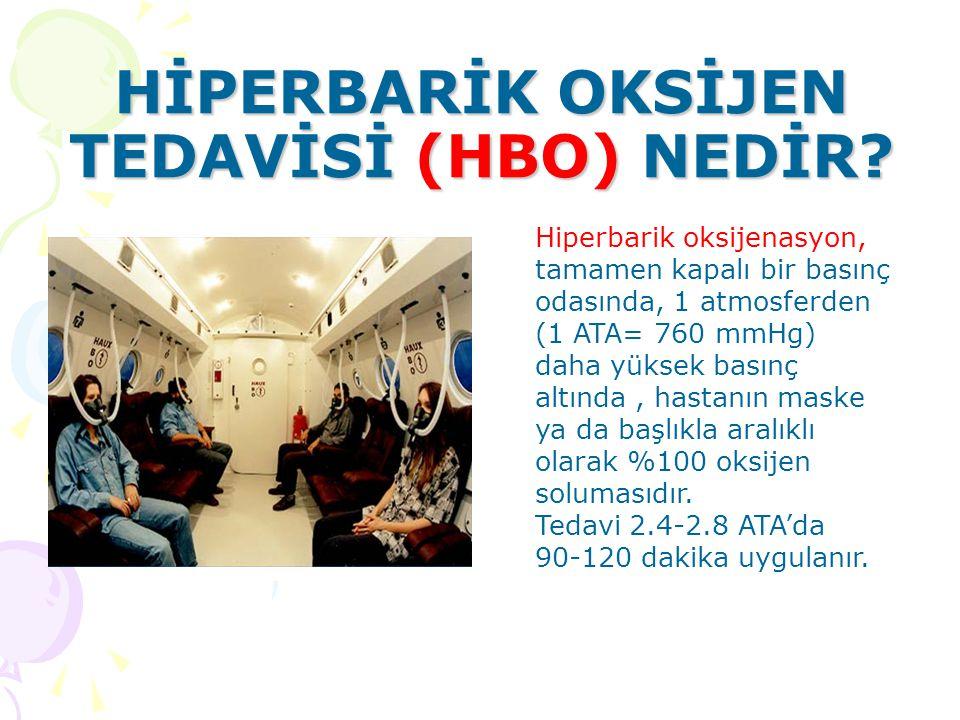 Hiperbarik oksijenasyon, tamamen kapalı bir basınç odasında, 1 atmosferden (1 ATA= 760 mmHg) daha yüksek basınç altında, hastanın maske ya da başlıkla