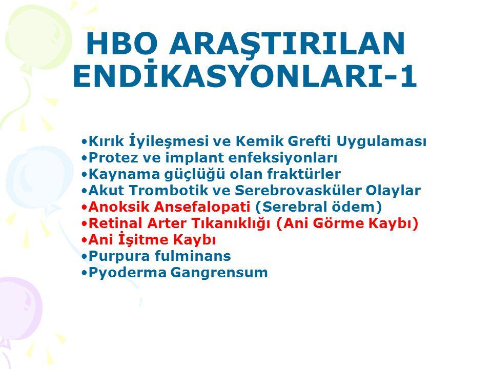 HBO ARAŞTIRILAN ENDİKASYONLARI-1 Kırık İyileşmesi ve Kemik Grefti Uygulaması Protez ve implant enfeksiyonları Kaynama güçlüğü olan fraktürler Akut Tro