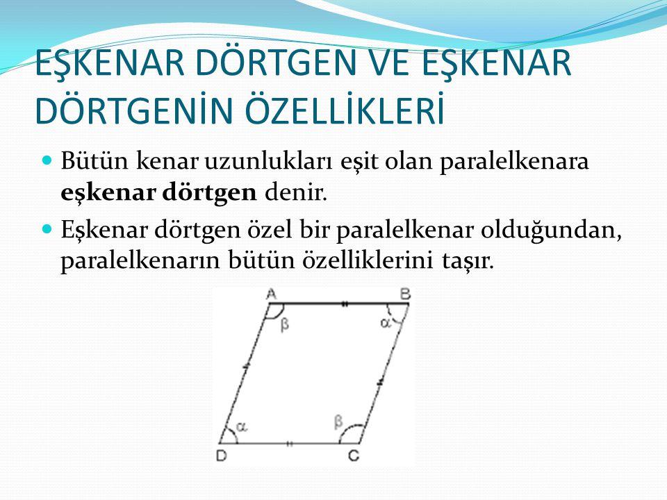 EŞKENAR DÖRTGEN VE EŞKENAR DÖRTGENİN ÖZELLİKLERİ Bütün kenar uzunlukları eşit olan paralelkenara eşkenar dörtgen denir.