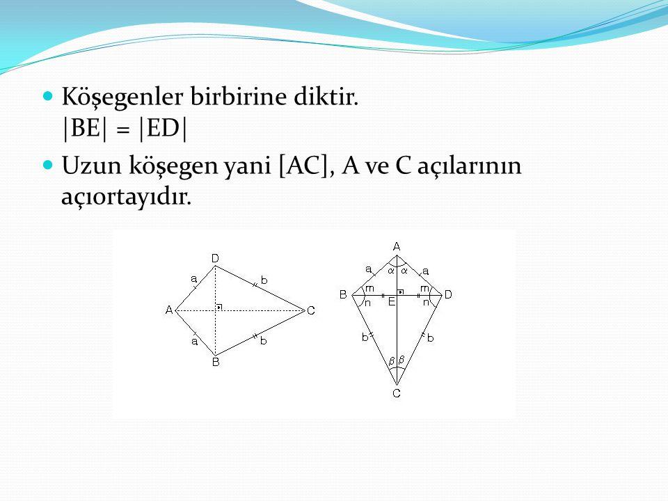 Köşegenler birbirine diktir. |BE| = |ED| Uzun köşegen yani [AC], A ve C açılarının açıortayıdır.