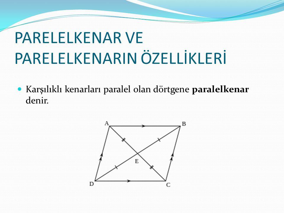 PARELELKENAR VE PARELELKENARIN ÖZELLİKLERİ Karşılıklı kenarları paralel olan dörtgene paralelkenar denir.