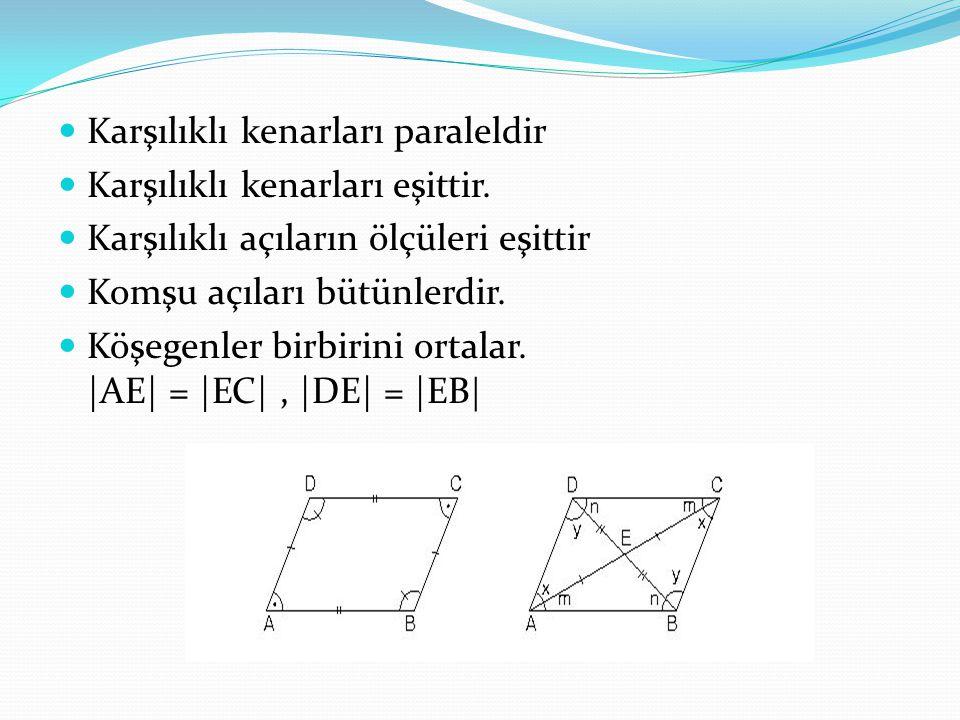 Karşılıklı kenarları paraleldir Karşılıklı kenarları eşittir. Karşılıklı açıların ölçüleri eşittir Komşu açıları bütünlerdir. Köşegenler birbirini ort