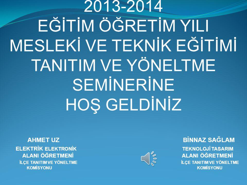 2013-2014 EĞİTİM ÖĞRETİM YILI MESLEKİ VE TEKNİK EĞİTİMİ TANITIM VE YÖNELTME SEMİNERİNE HOŞ GELDİNİZ