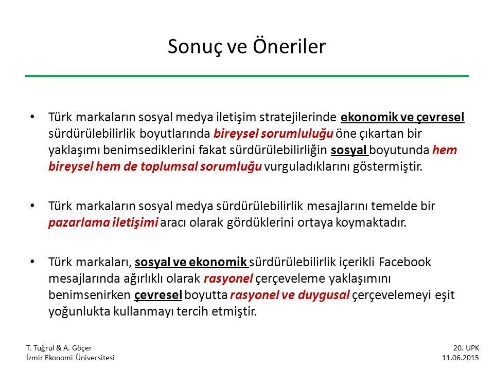 Sonuç ve Öneriler Türk markaların sosyal medya iletişim stratejilerinde ekonomik ve çevresel sürdürülebilirlik boyutlarında bireysel sorumluluğu öne çıkartan bir yaklaşımı benimsediklerini fakat sürdürülebilirliğin sosyal boyutunda hem bireysel hem de toplumsal sorumluğu vurguladıklarını göstermiştir.