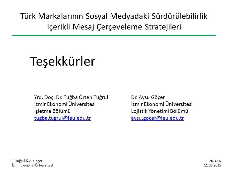 Türk Markalarının Sosyal Medyadaki Sürdürülebilirlik İçerikli Mesaj Çerçeveleme Stratejileri T.