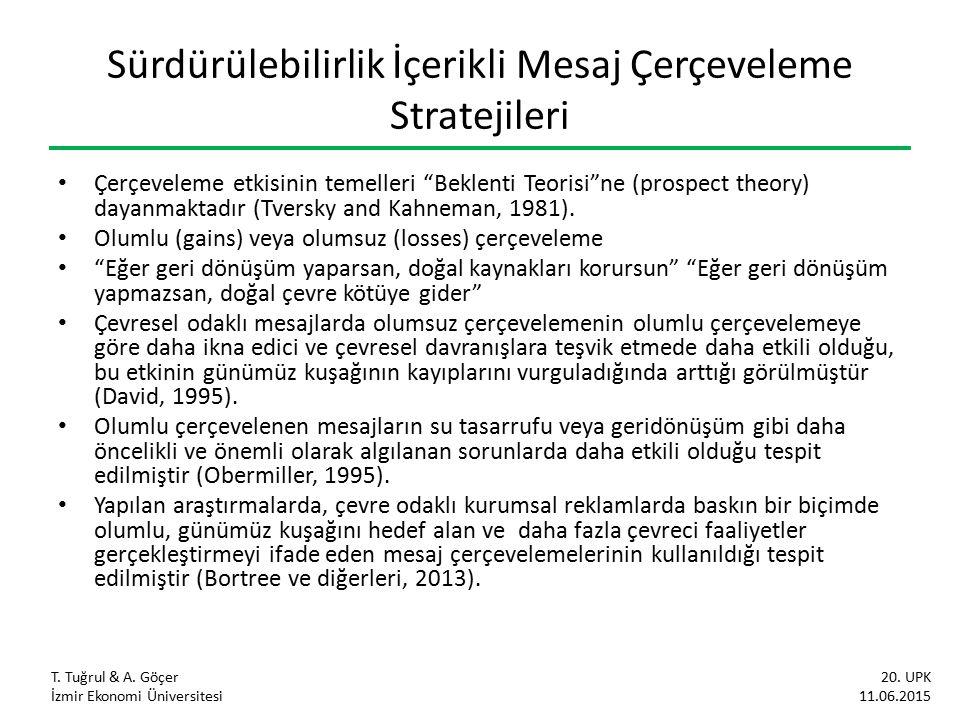 Sürdürülebilirlik İçerikli Mesaj Çerçeveleme Stratejileri Çerçeveleme etkisinin temelleri Beklenti Teorisi ne (prospect theory) dayanmaktadır (Tversky and Kahneman, 1981).