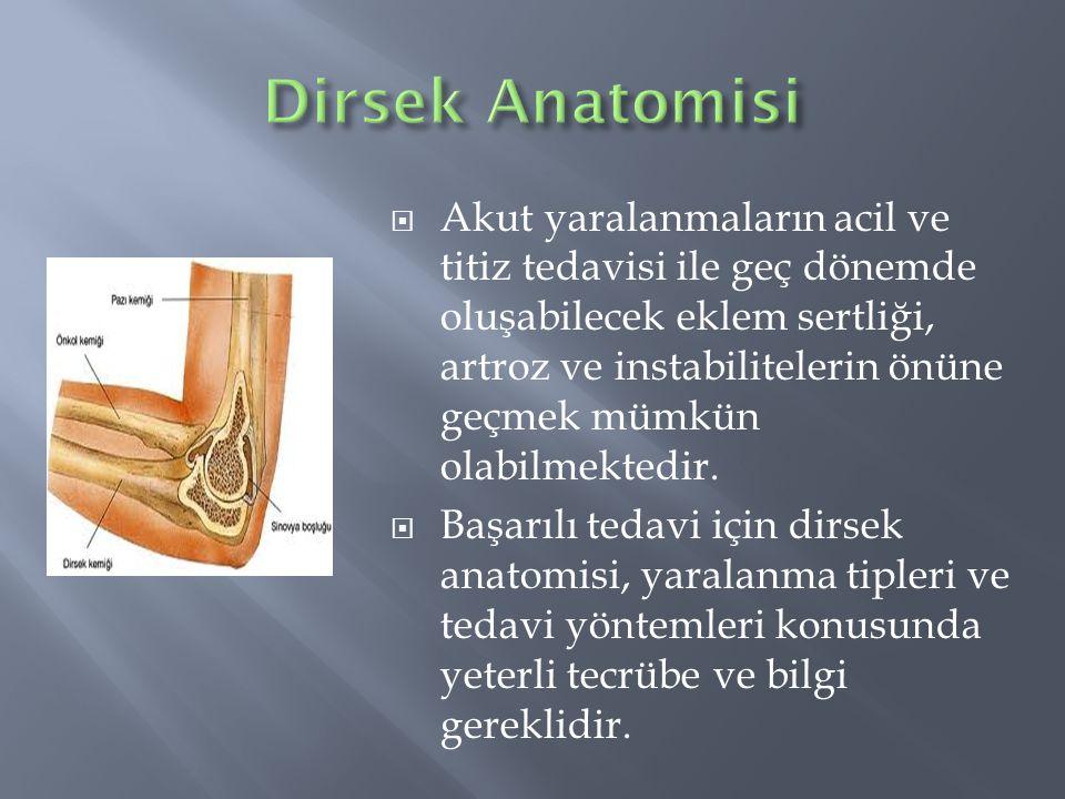 Humerus Alt Uç KırıklarıRadius Başı KırıklarıOlekranon KırıklarıDistal Biseps YırtılmasıTriseps AvülziyonuBursitlerOsteokondritis DissekansValgus-ekstansiyon Aşırı YüklenmeleriEpikondilitler (Lateral epikondilit (Tenisçi Dirseği)/Medial epikondilit (Golfçü Dirseği)
