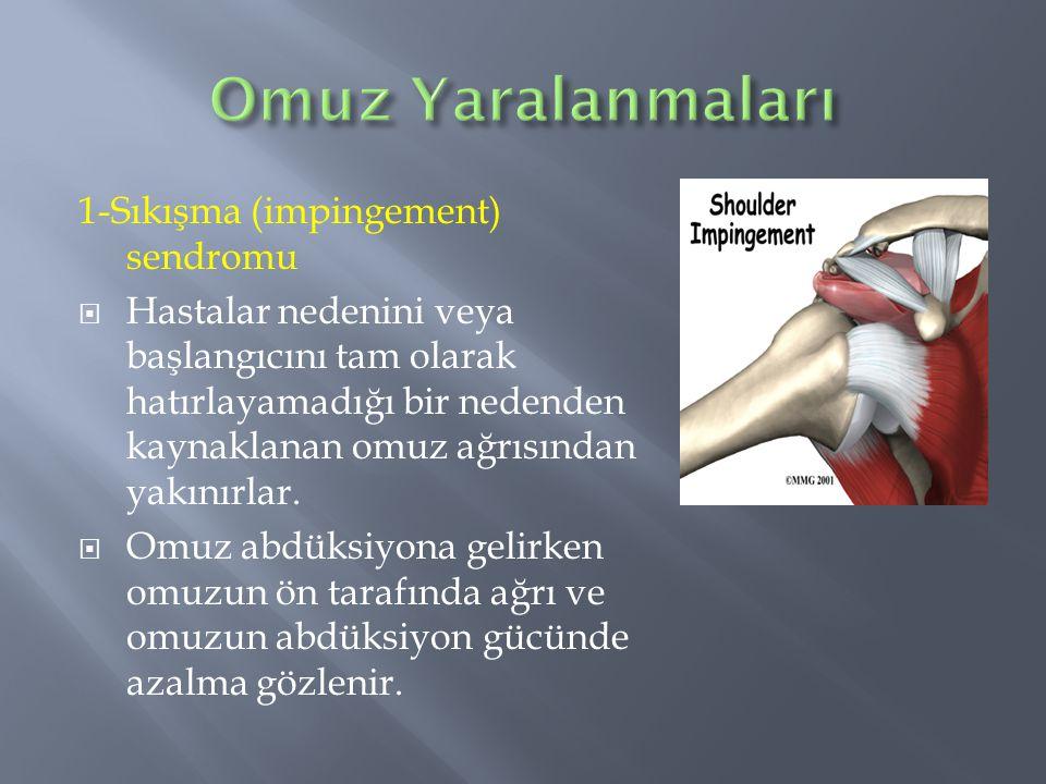 1-Sıkışma (impingement) sendromu  Hastalar nedenini veya başlangıcını tam olarak hatırlayamadığı bir nedenden kaynaklanan omuz ağrısından yakınırlar.