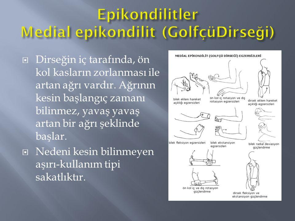  Dirseğin iç tarafında, ön kol kasların zorlanması ile artan ağrı vardır. Ağrının kesin başlangıç zamanı bilinmez, yavaş yavaş artan bir ağrı şeklind