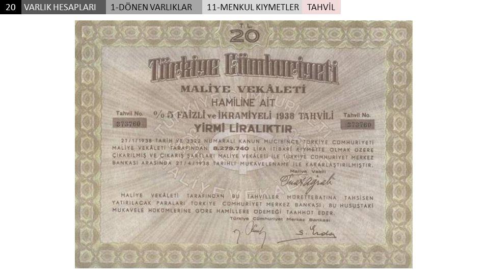 VARLIK HESAPLARI201-DÖNEN VARLIKLAR11-MENKUL KIYMETLERTAHVİL