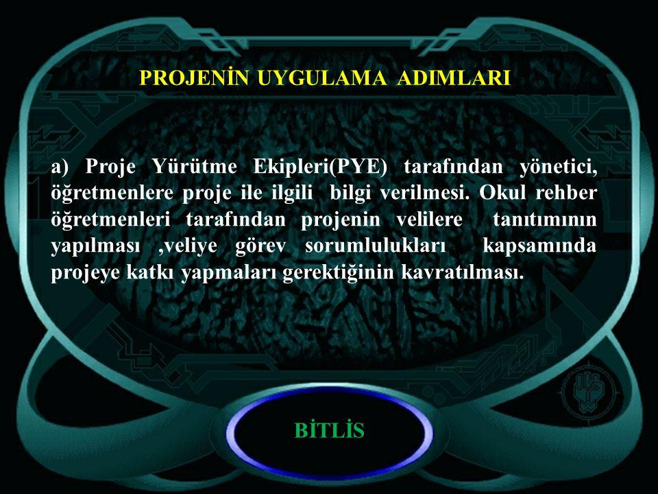PROJENİN UYGULAMA ADIMLARI a) Proje Yürütme Ekipleri(PYE) tarafından yönetici, öğretmenlere proje ile ilgili bilgi verilmesi.