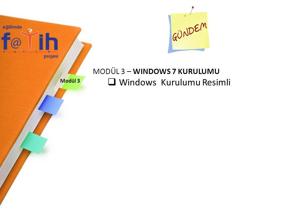 WINDOWS 7 KURULUMU Windows 7 Kurulum işlemi bitmiştir