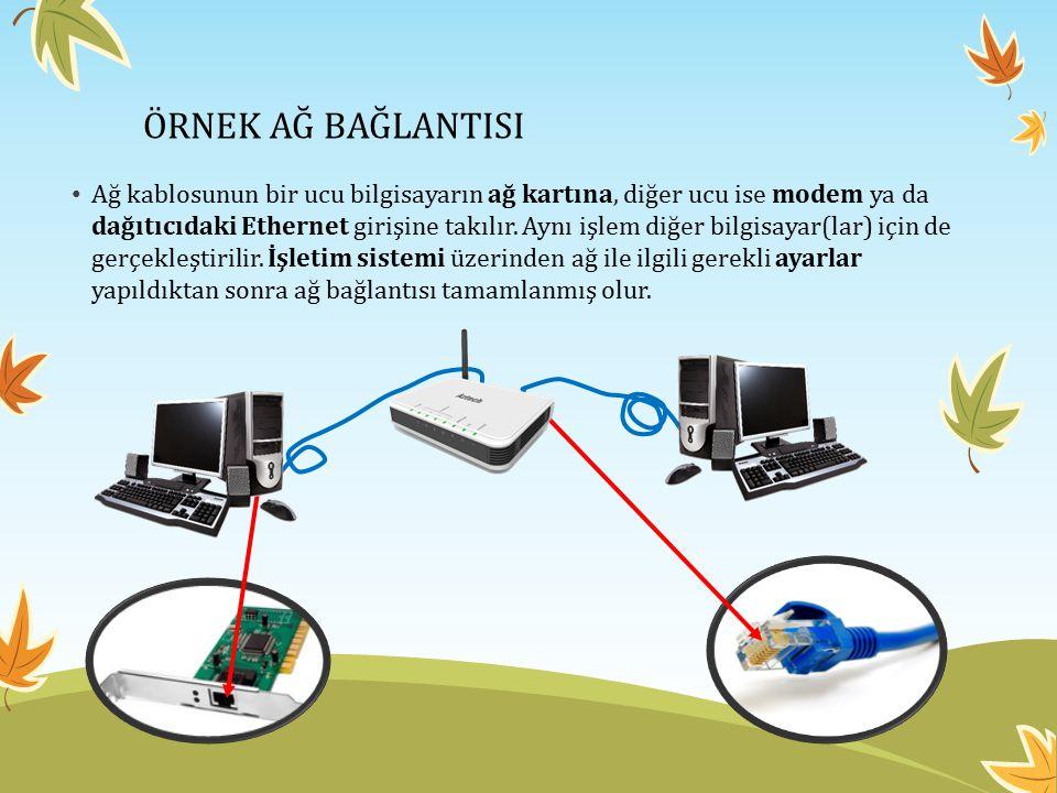 ÖRNEK AĞ BAĞLANTISI Ağ kablosunun bir ucu bilgisayarın ağ kartına, diğer ucu ise modem ya da dağıtıcıdaki Ethernet girişine takılır. Aynı işlem diğer