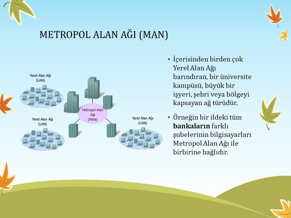 METROPOL ALAN AĞI (MAN) İçerisinden birden çok Yerel Alan Ağı barındıran, bir üniversite kampüsü, büyük bir işyeri, şehri veya bölgeyi kapsayan ağ tür