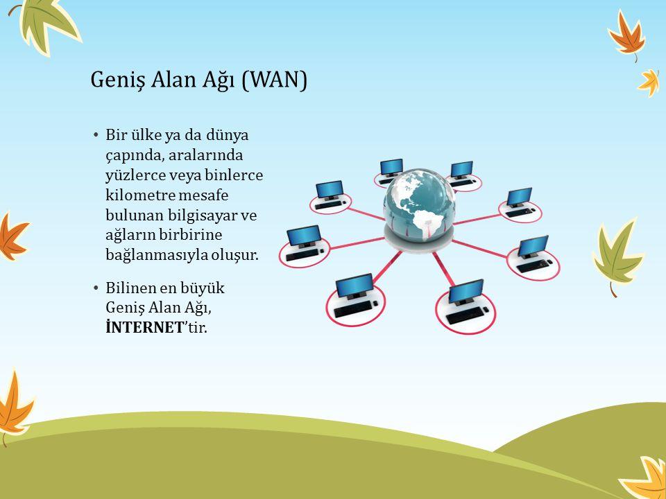 Geniş Alan Ağı (WAN) Bir ülke ya da dünya çapında, aralarında yüzlerce veya binlerce kilometre mesafe bulunan bilgisayar ve ağların birbirine bağlanma