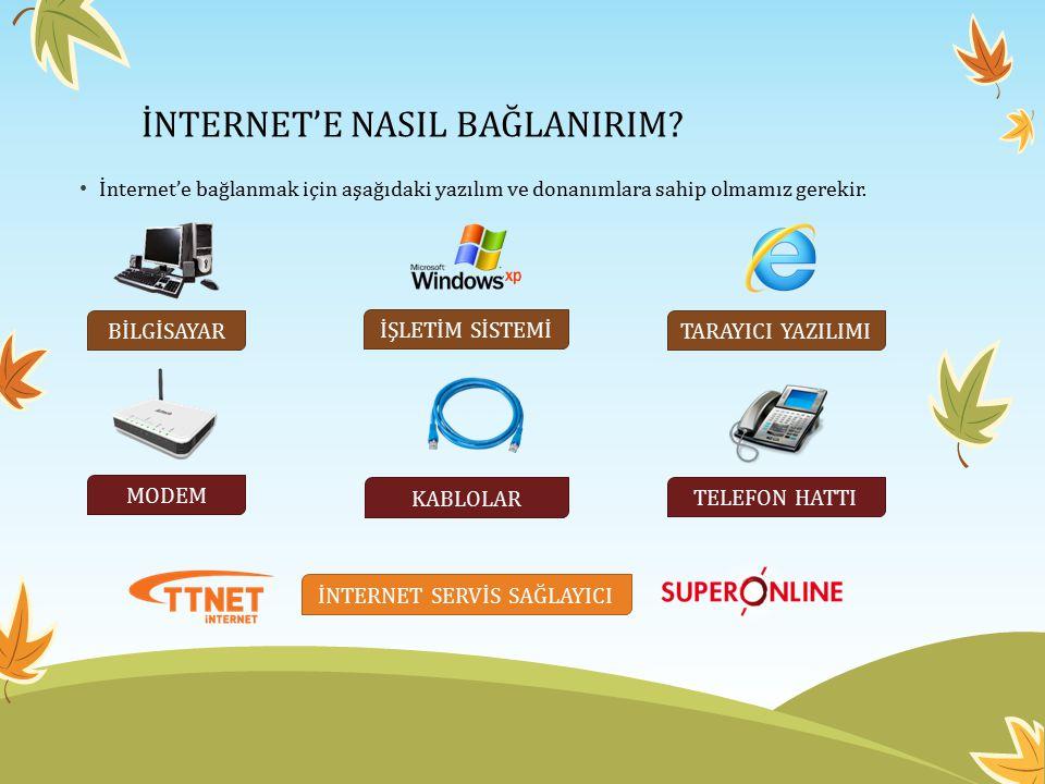 İNTERNET'E NASIL BAĞLANIRIM? İnternet'e bağlanmak için aşağıdaki yazılım ve donanımlara sahip olmamız gerekir. BİLGİSAYAR MODEM KABLOLAR İNTERNET SERV