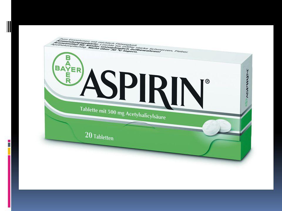 a- acetylation,  -spir- Spirsäure  -in ilaç isimlerine genelde eklenir  Yılda 35.000 ton üretilmektedir  Yani 100 milyar tabletten fazla