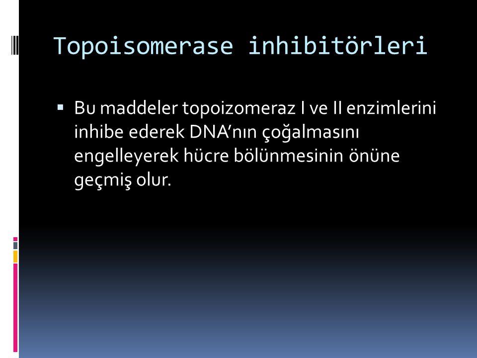 Topoisomerase inhibitörleri  Bu maddeler topoizomeraz I ve II enzimlerini inhibe ederek DNA'nın çoğalmasını engelleyerek hücre bölünmesinin önüne geç