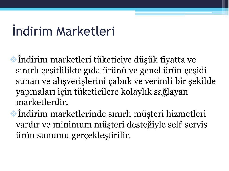 İndirim Marketleri  Türkiye'de indirim marketlerinin sayısındaki hızlı artış, fiyat rekabetin yoğunlaşmasına yol açmış, artan rekabet nedeni ile işletmeler daha fazla tüketiciyi mağazalarına bağlama, mevcut müşterilerin alışveriş sıklığını ve miktarını artırma yarışı içine girmişlerdir.