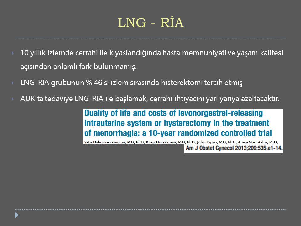 LNG - RİA  10 yıllık izlemde cerrahi ile kıyaslandığında hasta memnuniyeti ve yaşam kalitesi açısından anlamlı fark bulunmamış.  LNG-RİA grubunun %