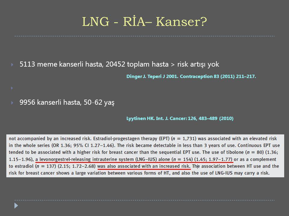 LNG - RİA– Kanser?  5113 meme kanserli hasta, 20452 toplam hasta > risk artışı yok Dinger J. Teperi J 2001. Contraception 83 (2011) 211–217.   9956