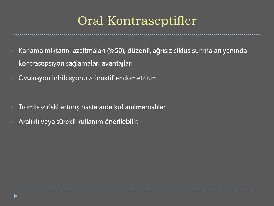 Oral Kontraseptifler  Kanama miktarını azaltmaları (%50), düzenli, ağrısız siklus sunmaları yanında kontrasepsiyon sağlamaları avantajları  Ovulasyo