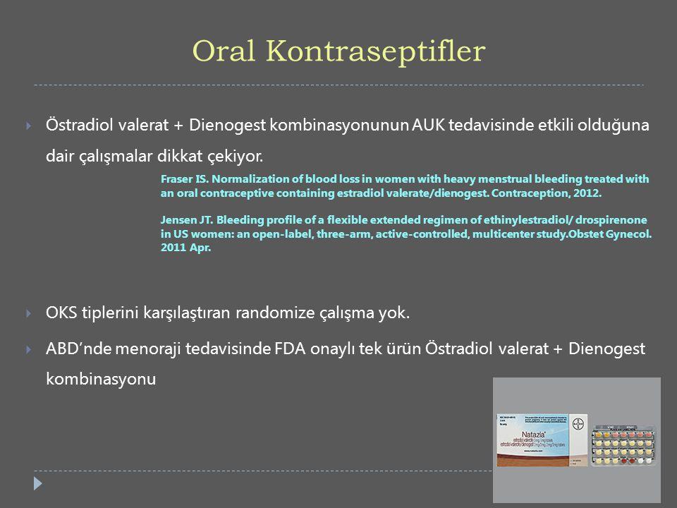 Oral Kontraseptifler  Östradiol valerat + Dienogest kombinasyonunun AUK tedavisinde etkili olduğuna dair çalışmalar dikkat çekiyor. Fraser IS. Normal