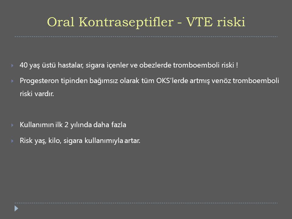 Oral Kontraseptifler - VTE riski  40 yaş üstü hastalar, sigara içenler ve obezlerde tromboemboli riski !  Progesteron tipinden bağımsız olarak tüm O