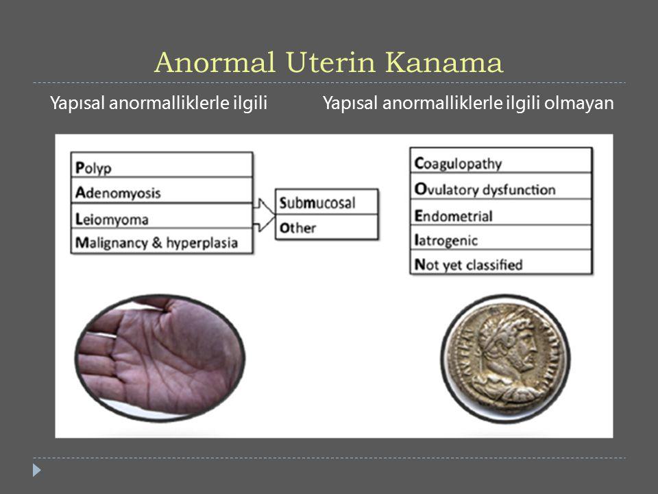Oral Kontraseptifler  Kanama miktarını azaltmaları (%50), düzenli, ağrısız siklus sunmaları yanında kontrasepsiyon sağlamaları avantajları  Ovulasyon inhibisyonu > inaktif endometrium  Tromboz riski artmış hastalarda kullanılmamalılar  Aralıklı veya sürekli kullanım önerilebilir.