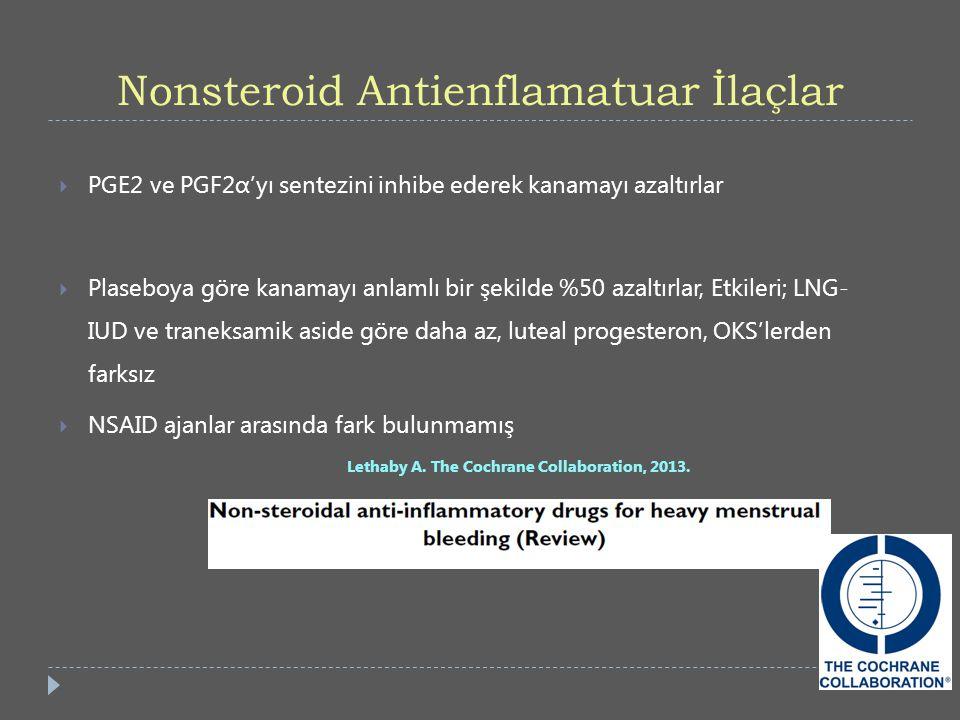 Nonsteroid Antienflamatuar İlaçlar  PGE2 ve PGF2α'yı sentezini inhibe ederek kanamayı azaltırlar  Plaseboya göre kanamayı anlamlı bir şekilde %50 az