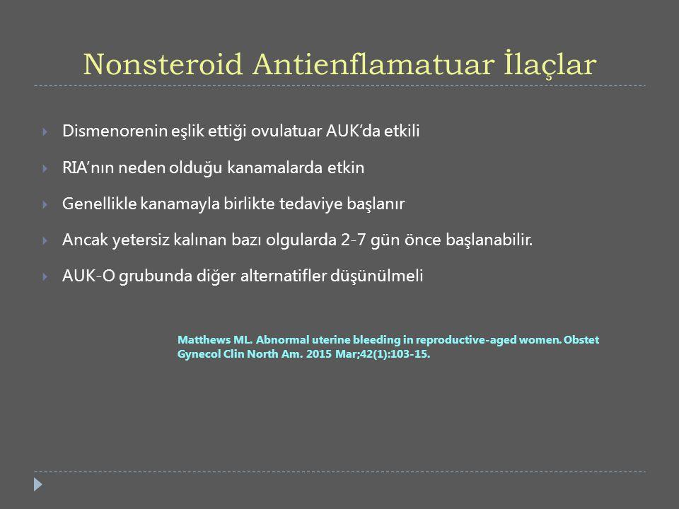 Nonsteroid Antienflamatuar İlaçlar  Dismenorenin eşlik ettiği ovulatuar AUK'da etkili  RIA'nın neden olduğu kanamalarda etkin  Genellikle kanamayla