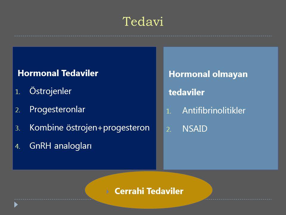 Tedavi Hormonal Tedaviler 1. Östrojenler 2. Progesteronlar 3. Kombine östrojen+progesteron 4. GnRH analogları Hormonal olmayan tedaviler 1. Antifibrin