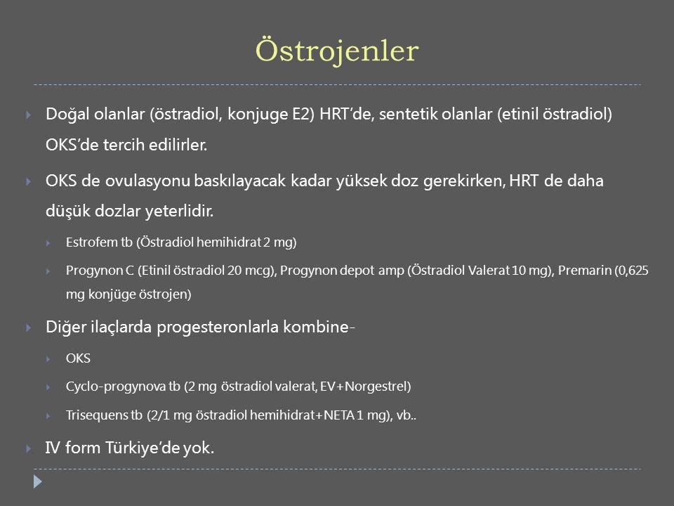 Östrojenler  Doğal olanlar (östradiol, konjuge E2) HRT'de, sentetik olanlar (etinil östradiol) OKS'de tercih edilirler.  OKS de ovulasyonu baskılaya