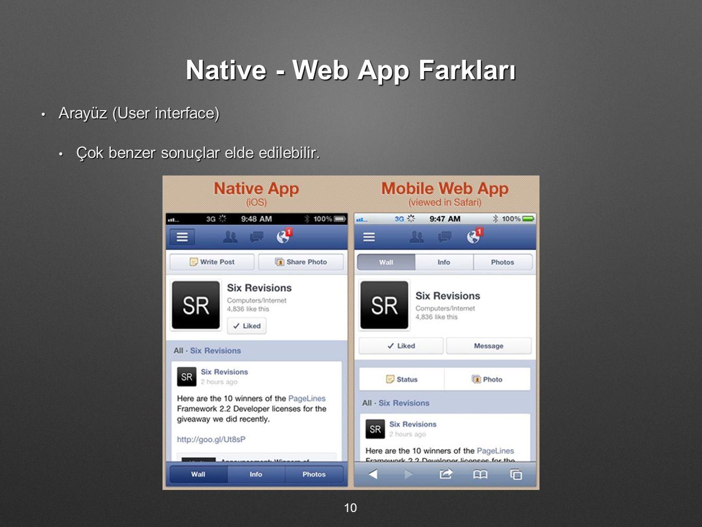Native - Web App Farkları Arayüz (User interface) Arayüz (User interface) Çok benzer sonuçlar elde edilebilir. Çok benzer sonuçlar elde edilebilir. 10