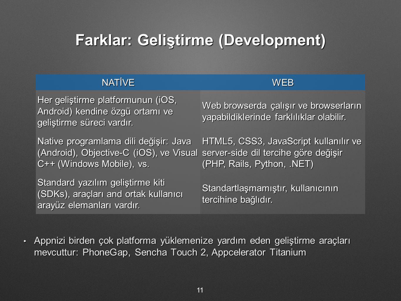Farklar: Geliştirme (Development) 11 NATİVEWEB Her geliştirme platformunun (iOS, Android) kendine özgü ortamı ve geliştirme süreci vardır. Web browser