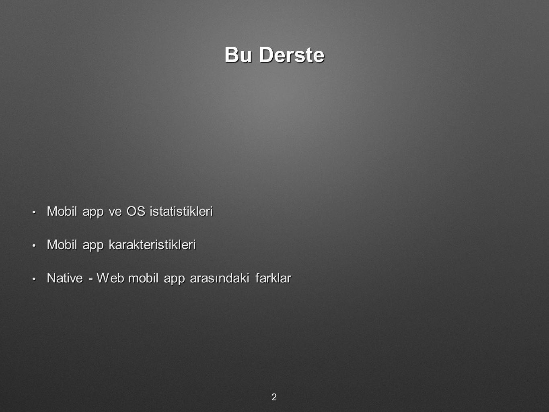 Bu Derste Mobil app ve OS istatistikleri Mobil app ve OS istatistikleri Mobil app karakteristikleri Mobil app karakteristikleri Native - Web mobil app arasındaki farklar Native - Web mobil app arasındaki farklar 2
