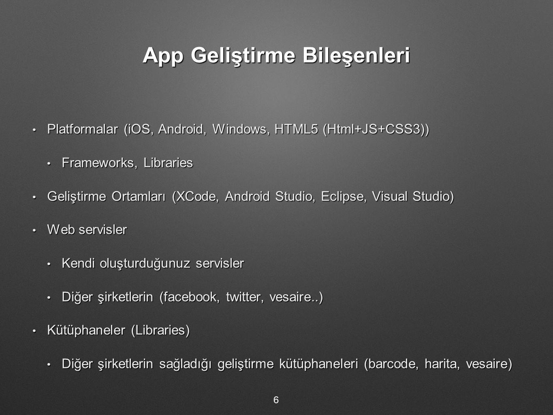 App Geliştirme Bileşenleri Platformalar (iOS, Android, Windows, HTML5 (Html+JS+CSS3)) Platformalar (iOS, Android, Windows, HTML5 (Html+JS+CSS3)) Frameworks, Libraries Frameworks, Libraries Geliştirme Ortamları (XCode, Android Studio, Eclipse, Visual Studio) Geliştirme Ortamları (XCode, Android Studio, Eclipse, Visual Studio) Web servisler Web servisler Kendi oluşturduğunuz servisler Kendi oluşturduğunuz servisler Diğer şirketlerin (facebook, twitter, vesaire..) Diğer şirketlerin (facebook, twitter, vesaire..) Kütüphaneler (Libraries) Kütüphaneler (Libraries) Diğer şirketlerin sağladığı geliştirme kütüphaneleri (barcode, harita, vesaire) Diğer şirketlerin sağladığı geliştirme kütüphaneleri (barcode, harita, vesaire) 6